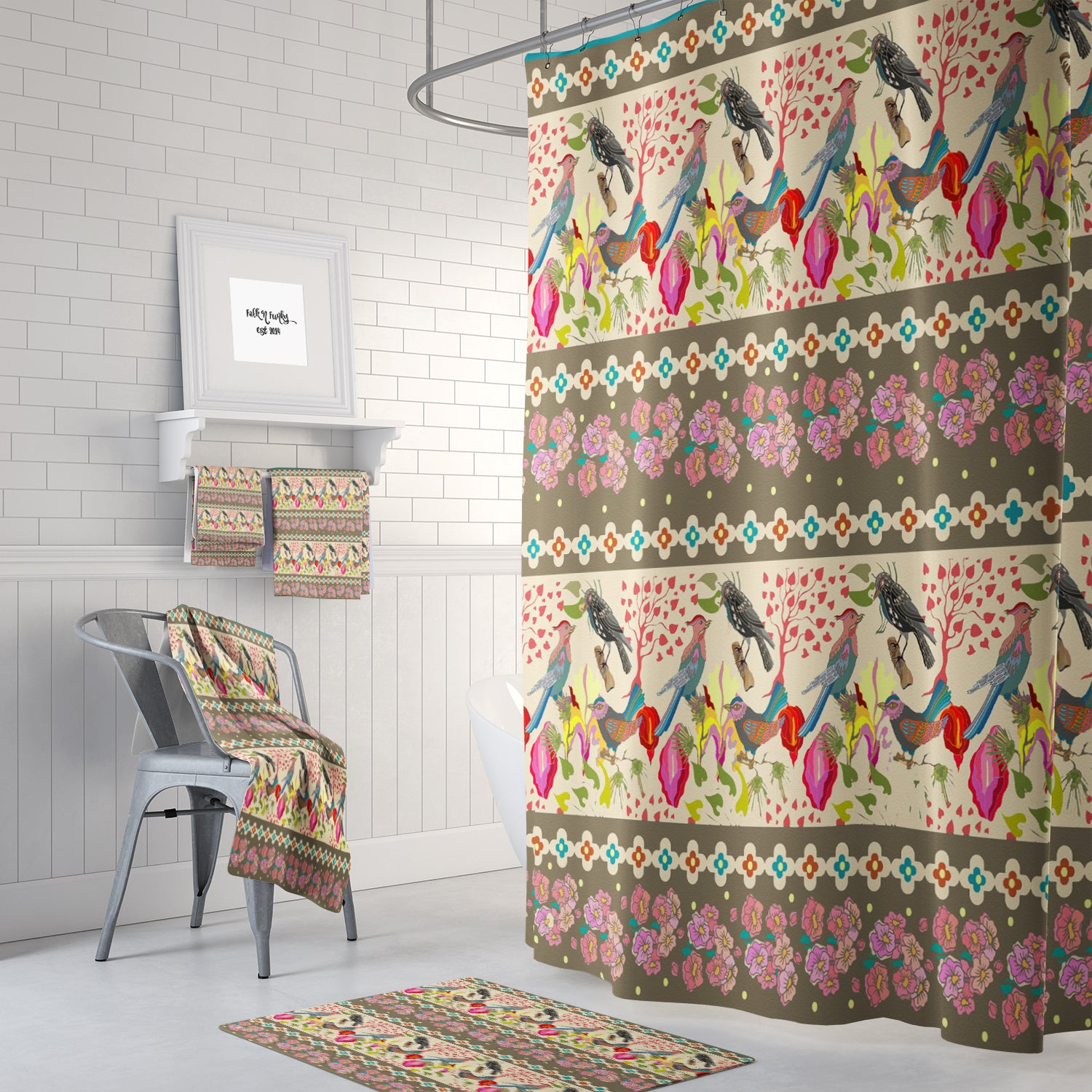 Boho Bird Pattern Shower Curtain