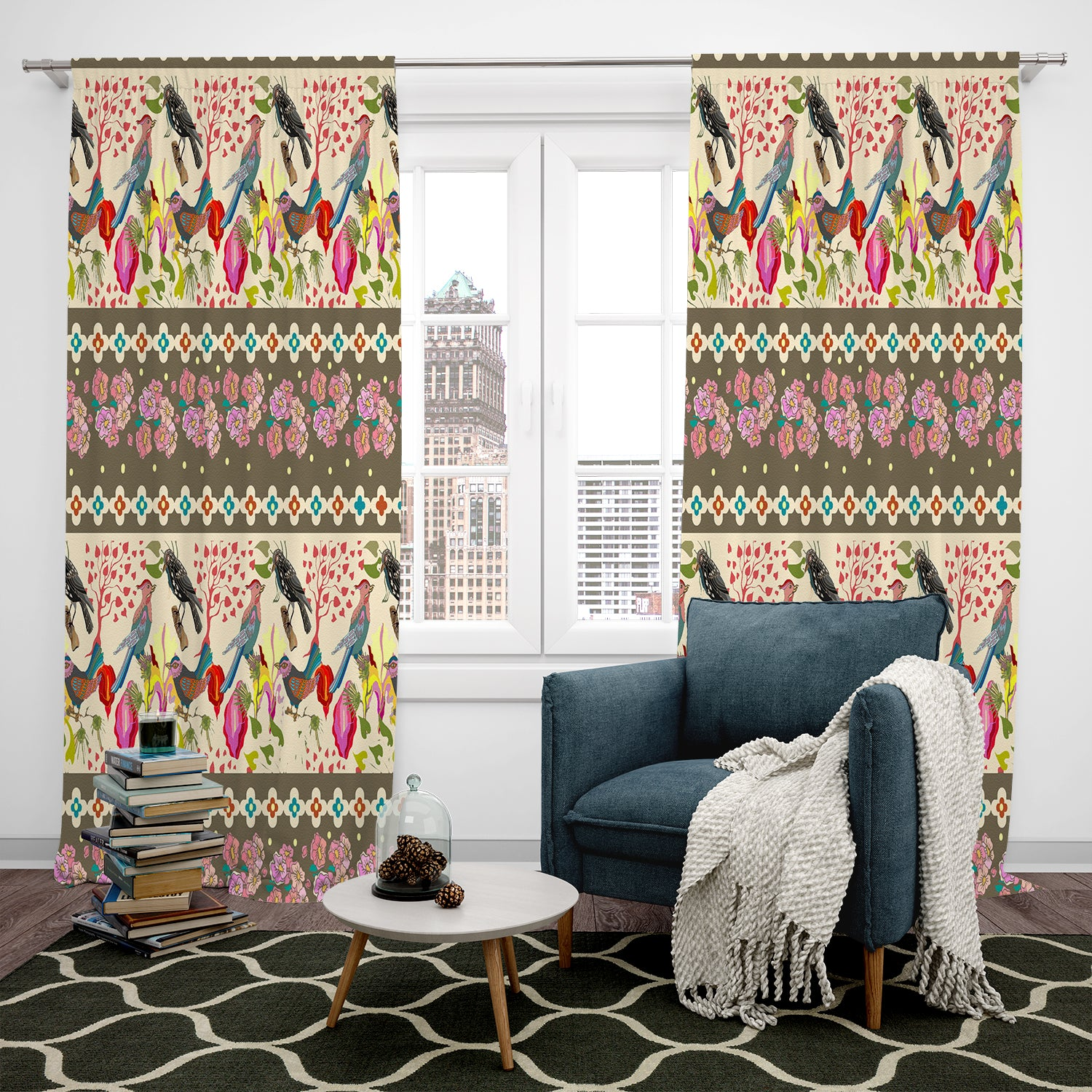 Boho Bird Pattern Window Curtain Design
