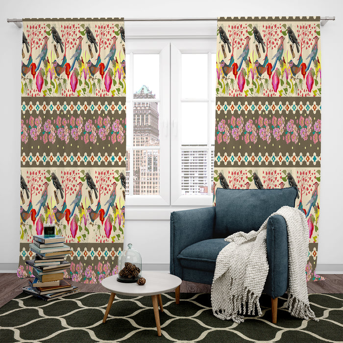 Boho Bird Pattern Blackout and Sheer Window Curtains