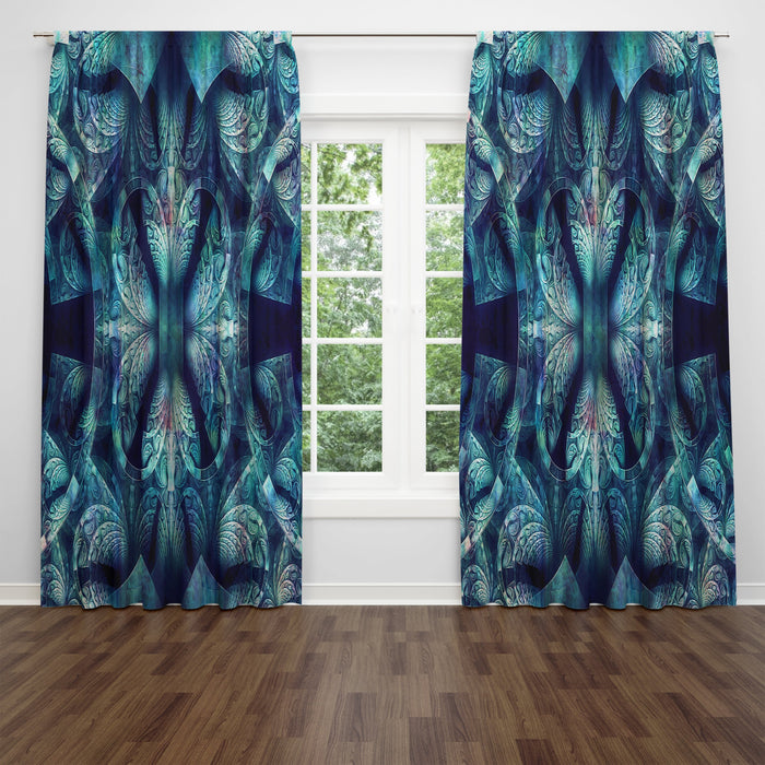 Boho Bohemian Blues | Sheer and Blackout Long Panel Window Curtains