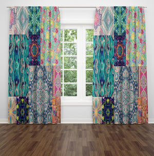 Boho Window Curtains, Patchwork
