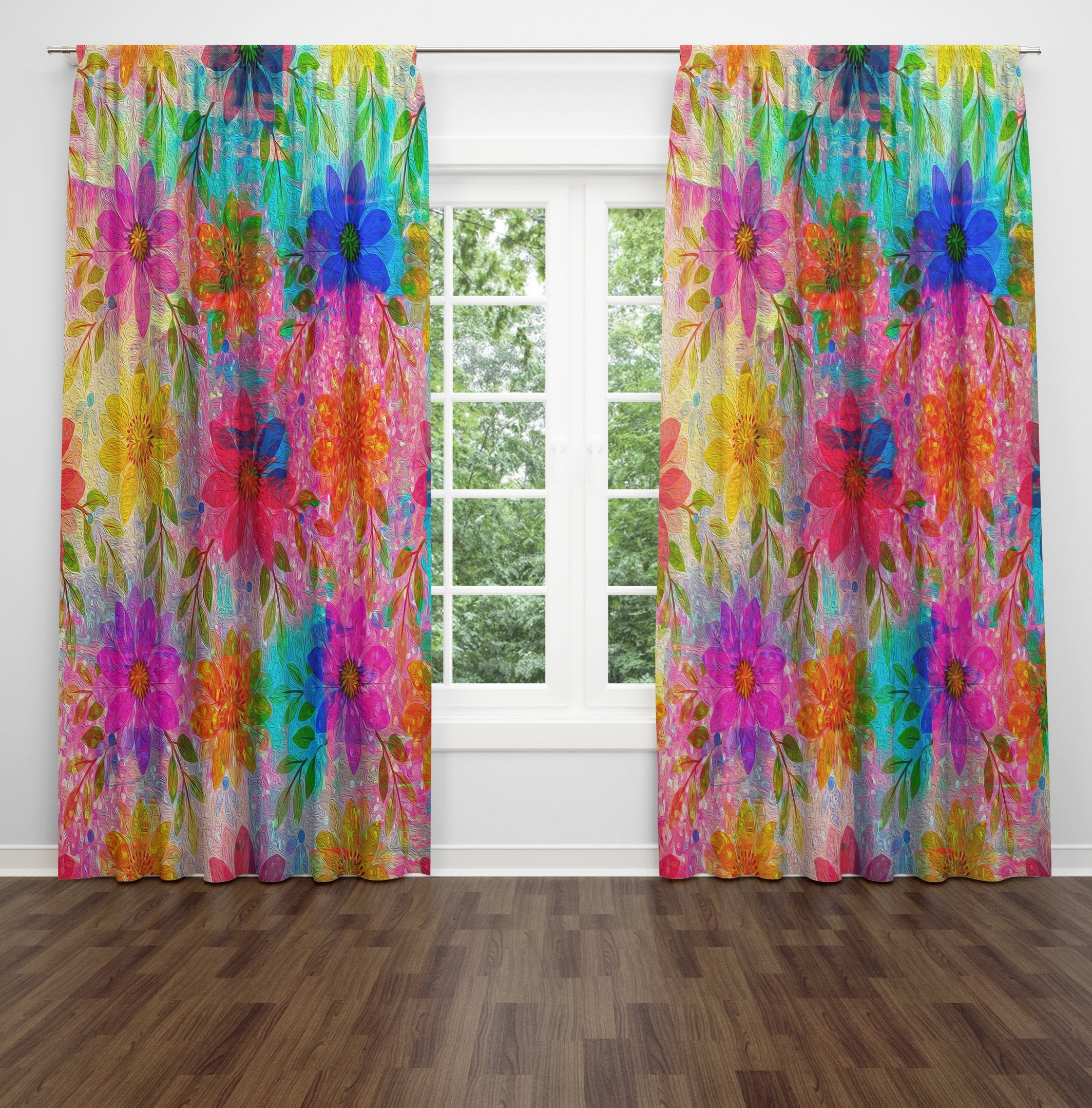 Boho Hippie Floral Window Curtains