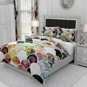 Bohemian Mermaid Scales Bedding Set