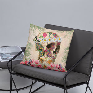 Boho Hippie Sugar Skull Throw Pillow