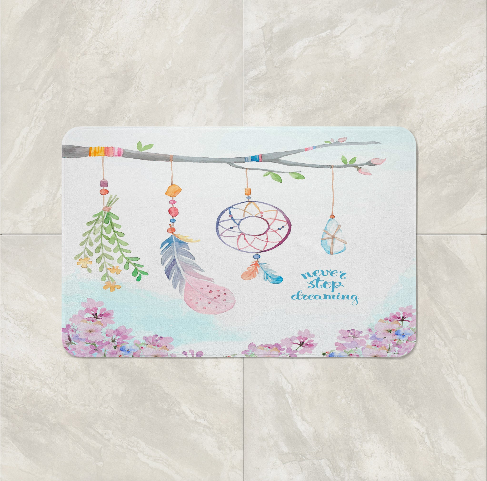 Boho Branch Dream Catcher Bath Mat