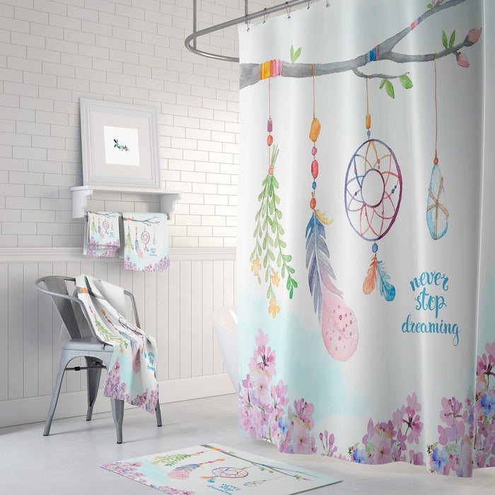 Boho Branch Dream Catcher Shower Curtain Bath Mat And Towels Folk N Funky