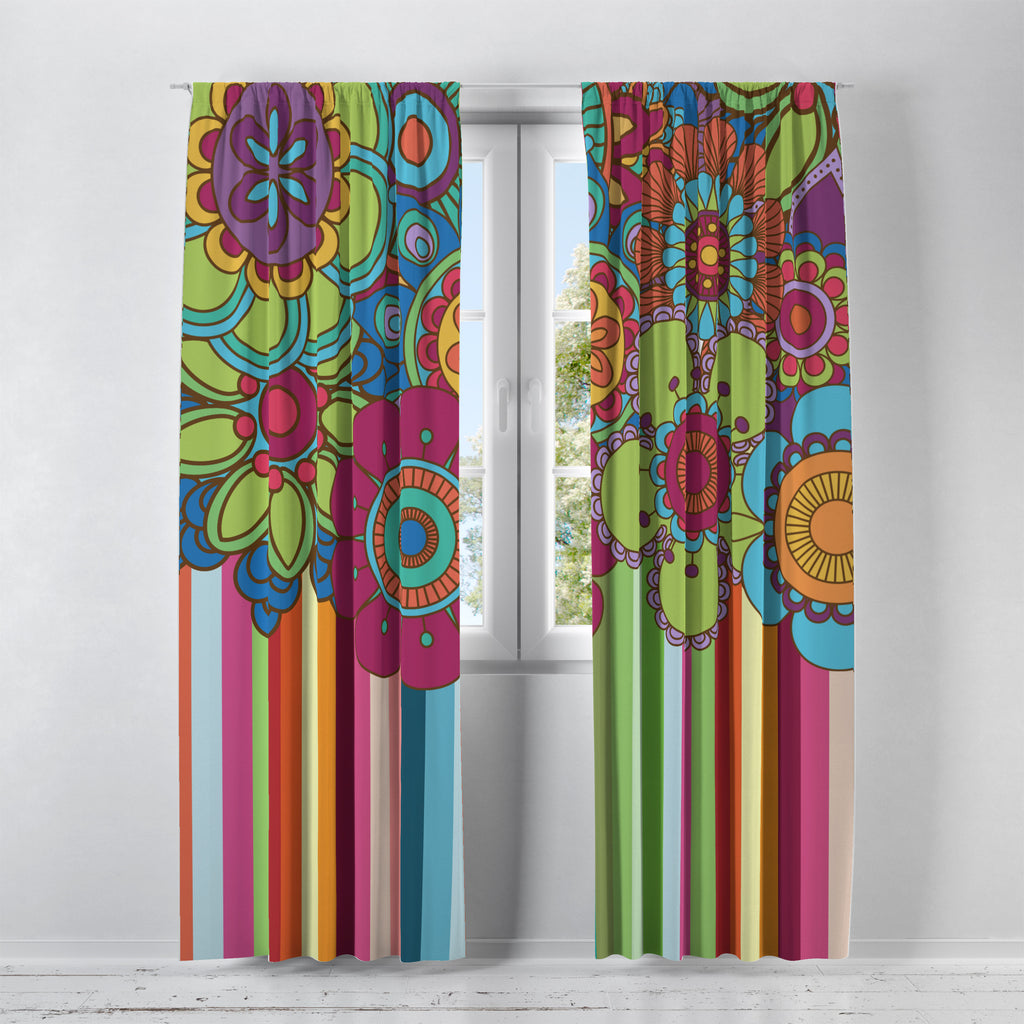 Hippie Wildflower Window Curtains