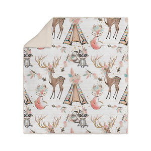 White Woodland Animals Boho Sherpa Fleece Blanket