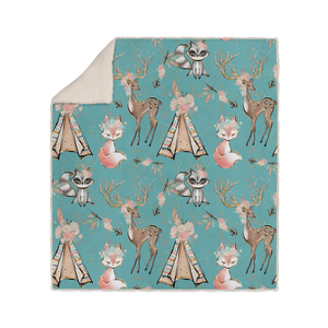 Woodland Animals Boho Sherpa Fleece Blanket