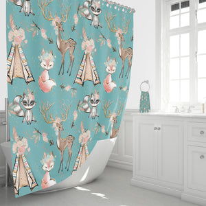 Turquoise Woodland Boho Shower Curtain