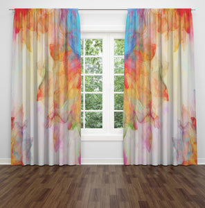 Watercolor Summer Breeze Sheer and Blackout Window Curtains