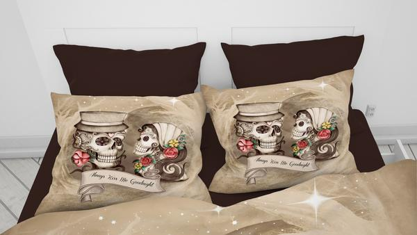 Always Kiss Me Goodnight Beige Forevermore Skulls Comforter or Duvet Cover Bedroom Set