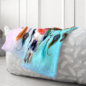 Watercolor Bull Skull Blanket