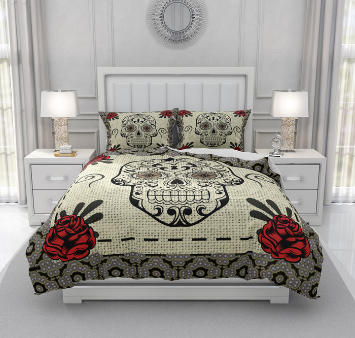 Faux Burlap Skull Bedding