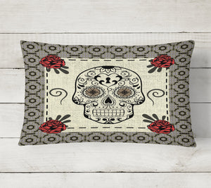 Tan Red Rose Mosaic Border Sugar Skull Bedding