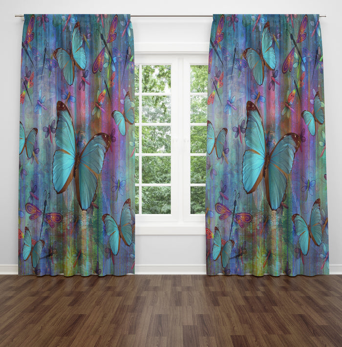 Blue Butterfly and Dragonfly Curtains