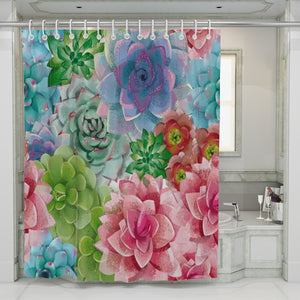 Succulent Shower Curtain, Cactus Floral Bathroom Decor