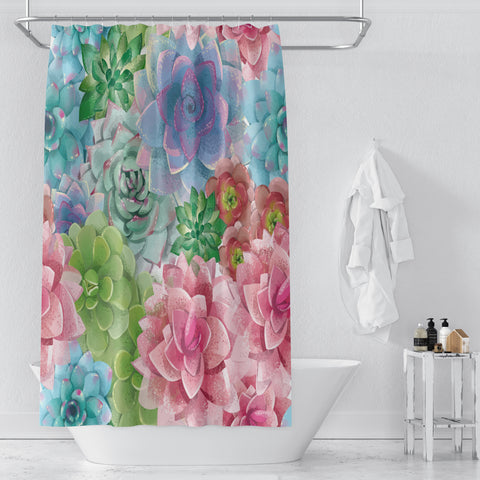 Folk N Funky Bathroom Decor | Watercolor Cactus | Cool Fun Funky Shower Curtain, Bathmat & Towels