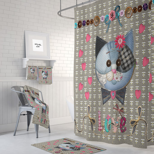 Country Cat Shower Curtain , Patches
