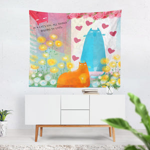 Flossies Cats Wall Tapestry, In A Cat's Eyes Quote