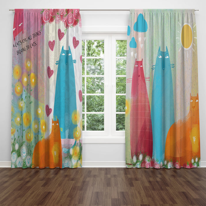 Flossies Cats Window Curtains, Chic Artsy Window Treatments