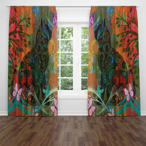 Boho Cat Window Curtains
