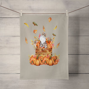 Autumn Cat with Pumpkins Shower Curtain