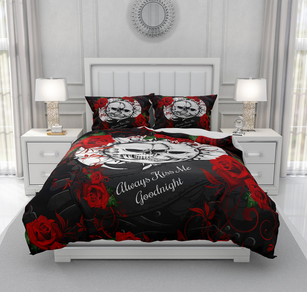 Celestial Skull Bedding, Always Kiss Me, Red and Black