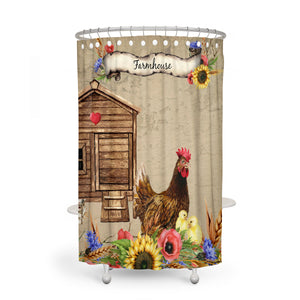 Farmhouse Chicken Shower Curtain Optional Towels and Mat