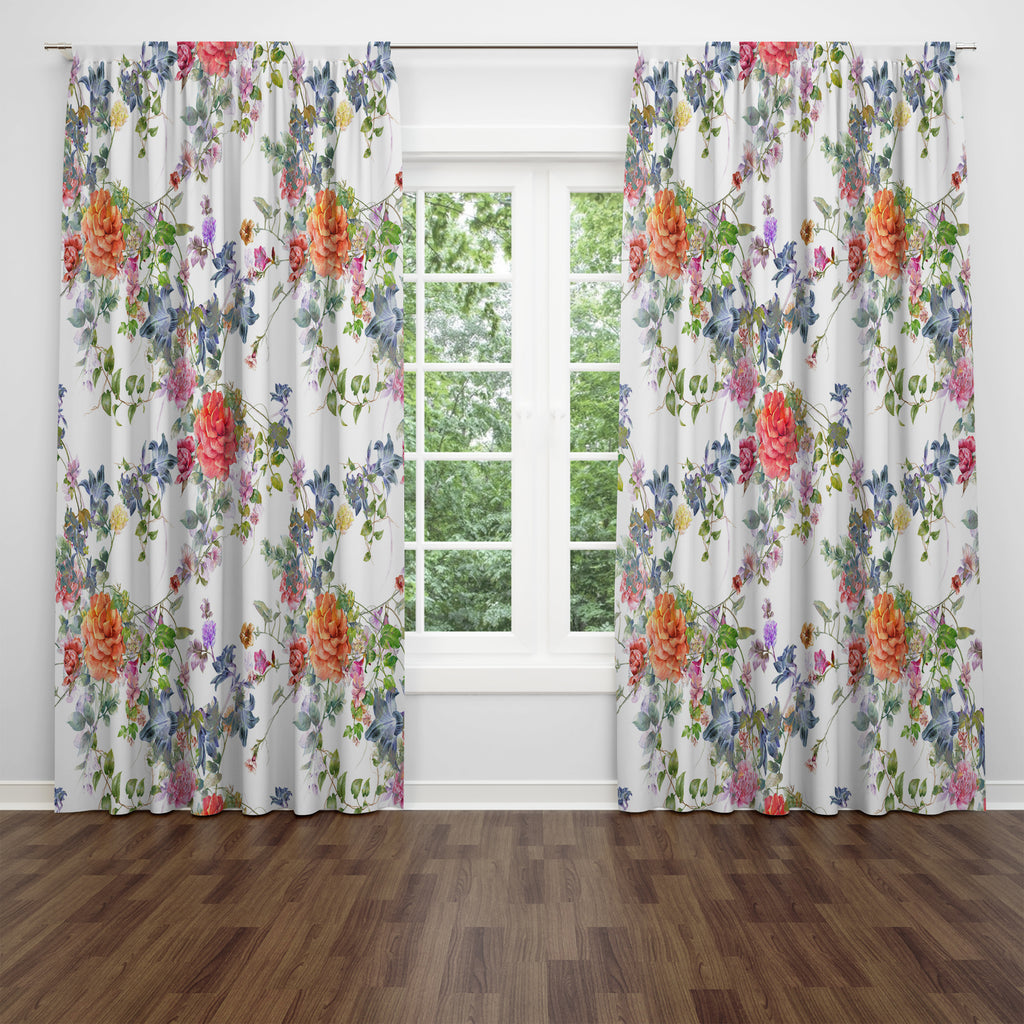 Classic Floral Window Curtains