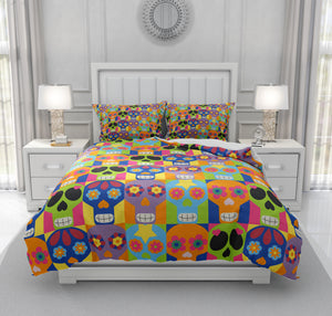 Color Block Sugar Skull Bedding