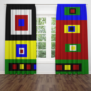 Color Block Window Curtains, Color Crazy Retro Vibe Window Treatments