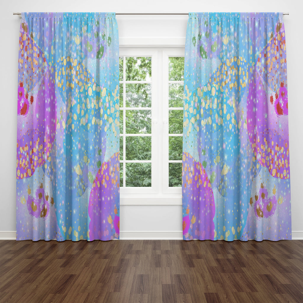 Confetti Rain Sheer and Blackout Window Curtains