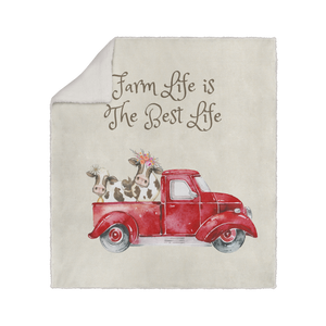 Red Truck With Cows Snuggly Sherpa Fleece Blanket