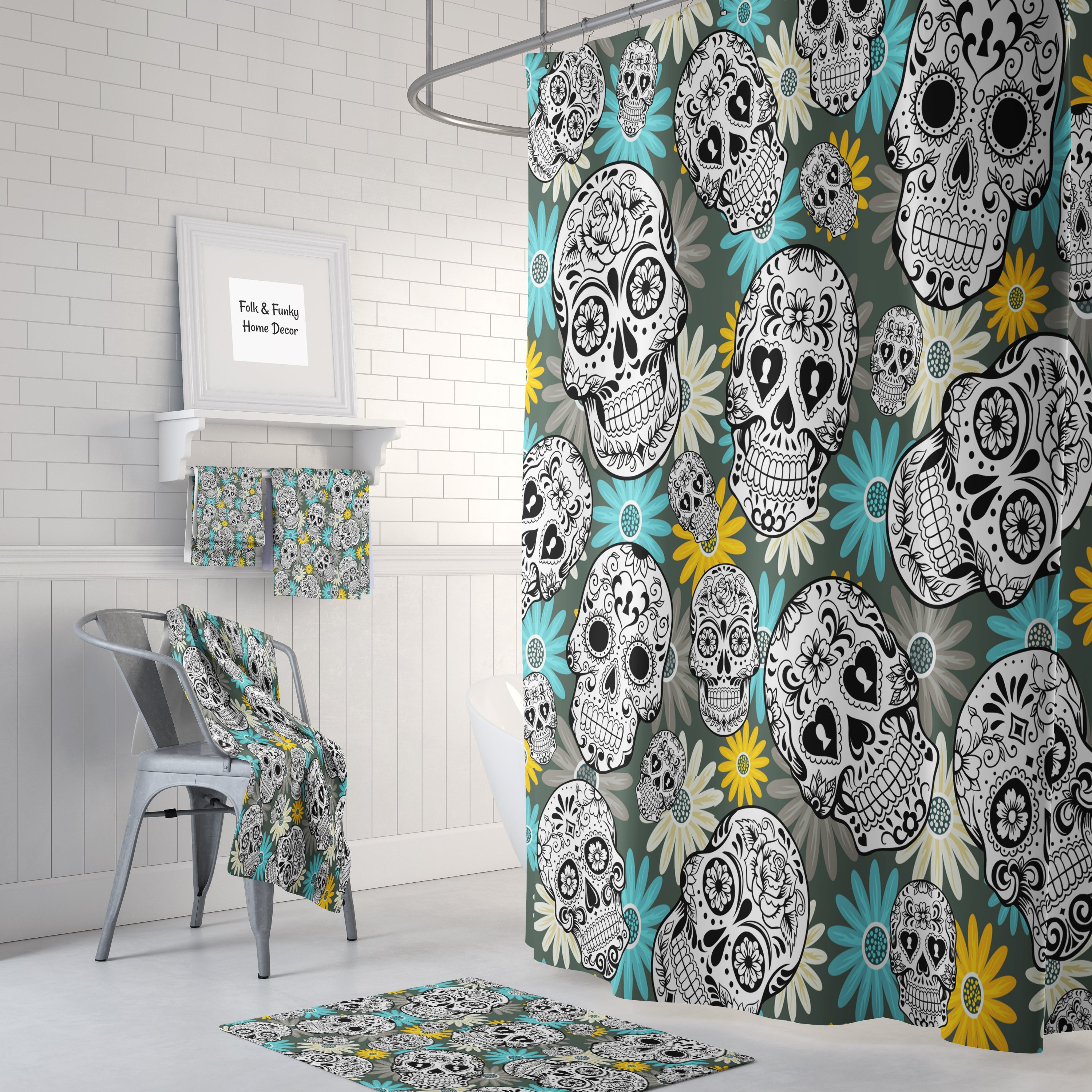 The Teal and Yellow Sugar Skull Bathroom Set