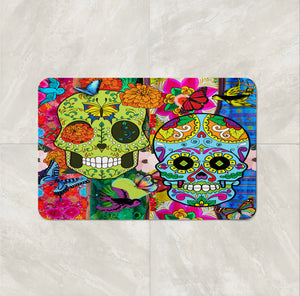 The Color Crazy Happy Sugar Skull bath mat