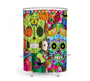 The Color Crazy Happy Sugar Skull Shower Curtain