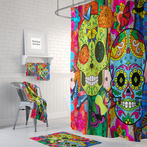 The Color Crazy Happy Sugar Skull Shower Curtain and bath towels