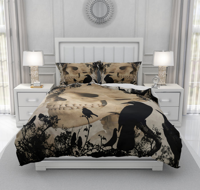 Gothic Crow and Skull Bedding
