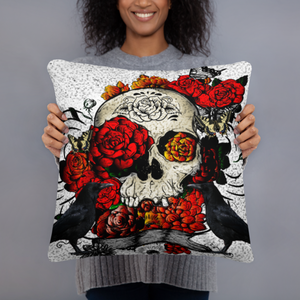 Skull Throw Pillow, Classic Roses and Crows
