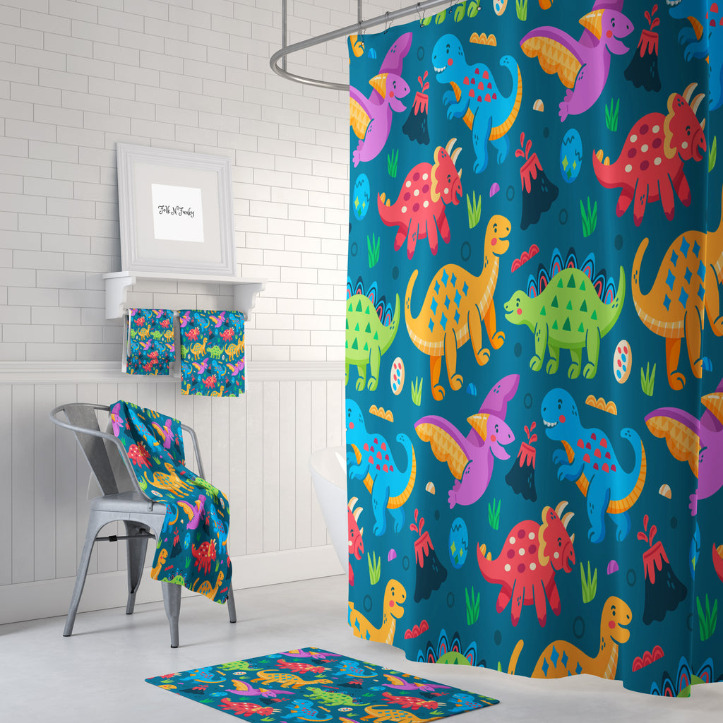 Childrens Colorful Dinosaur Shower Curtain Bathroom Decor