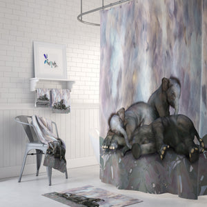 Sleepy Elephants Shower Curtain