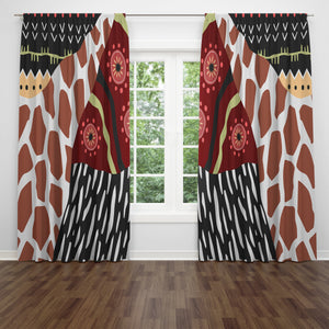 Boho Tribal Collage Window Curtains