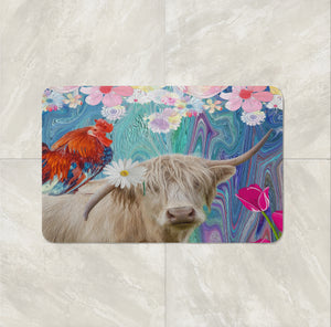 Eclectic Cow Shower Curtain Maximalist Bathroom Decor