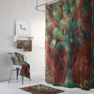 Faiths Tree Shower Curtain Optional Set Wood Grain