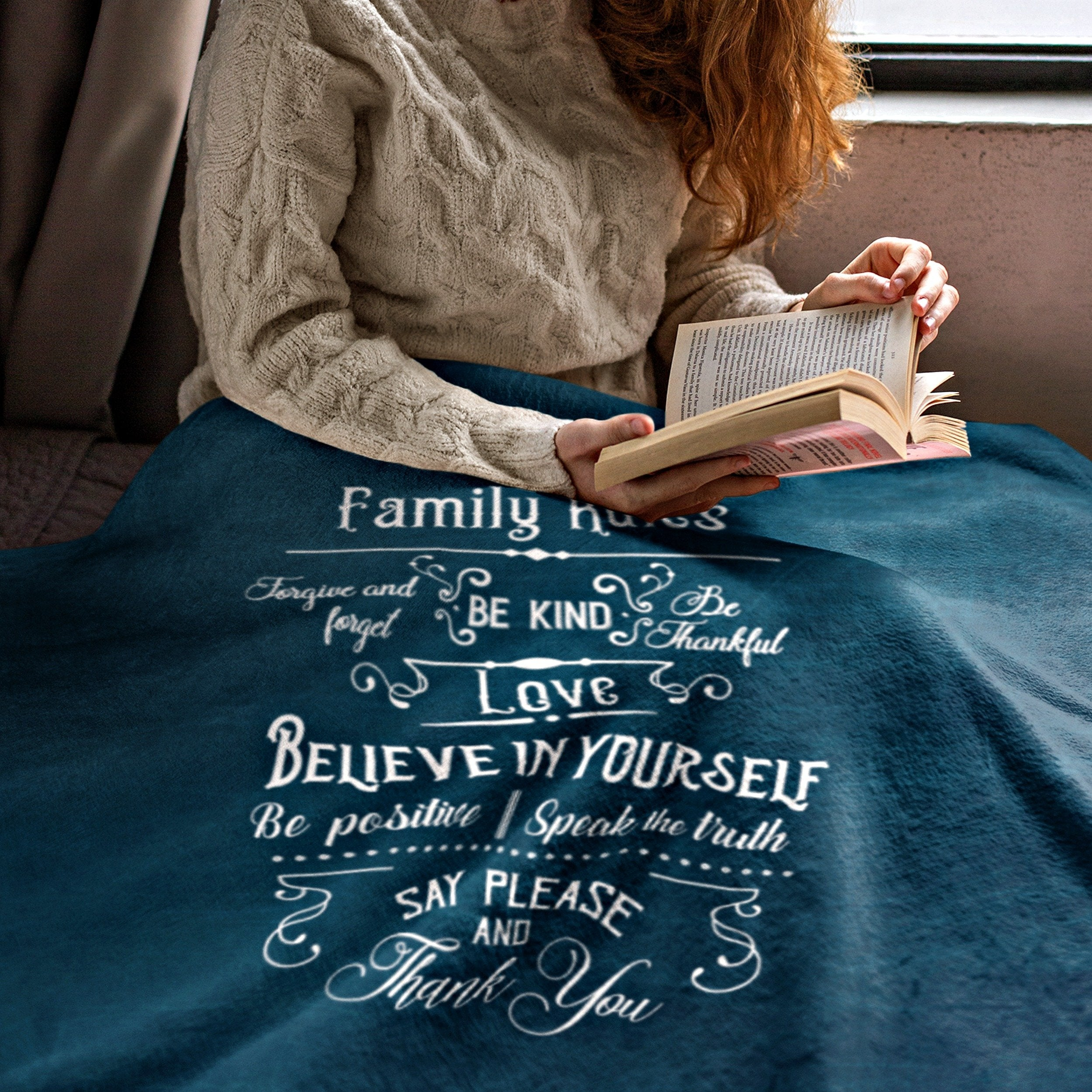 Family Rules Rustic Blue Throw Blanket