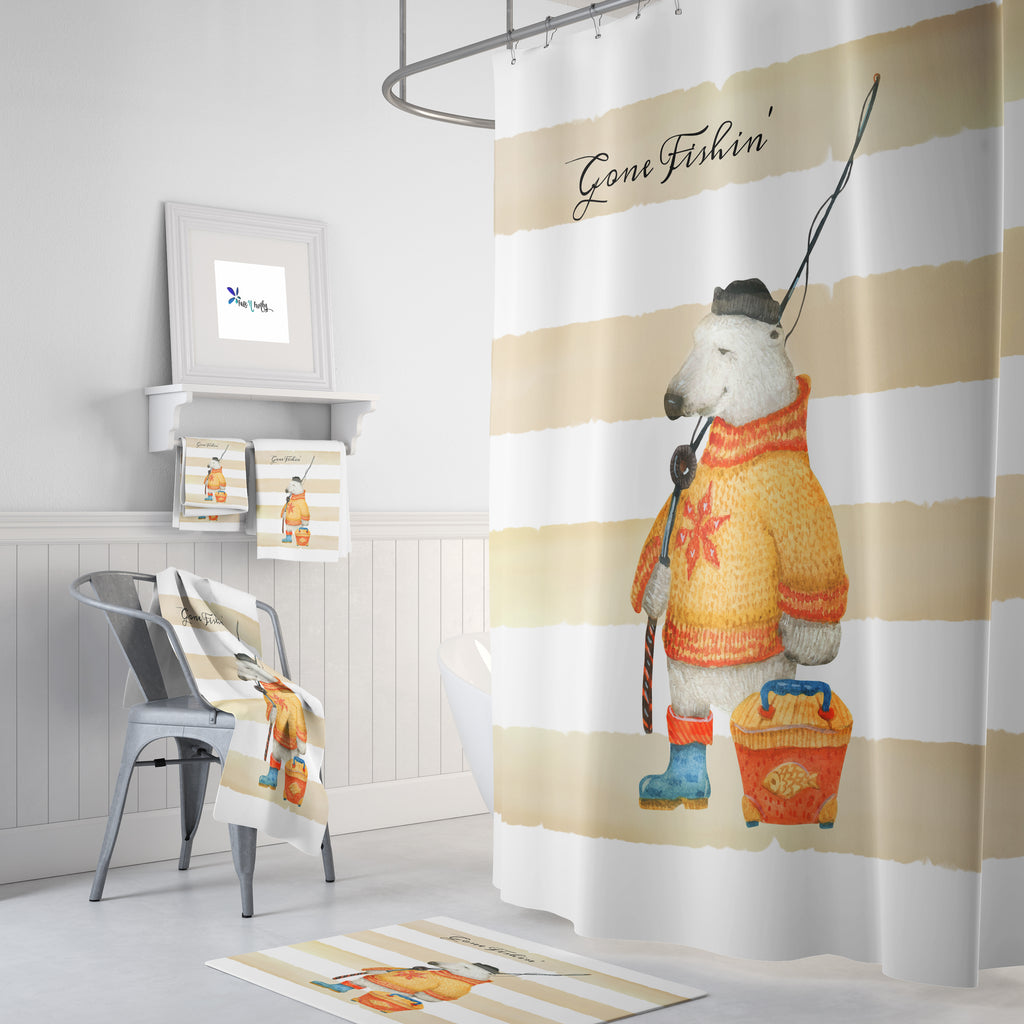 Gone Fishing Polar Bear Shower Curtain, Rustic Bathroom Decor