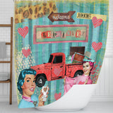 Shower Curtain, Retro Collage, Flea Market Girls