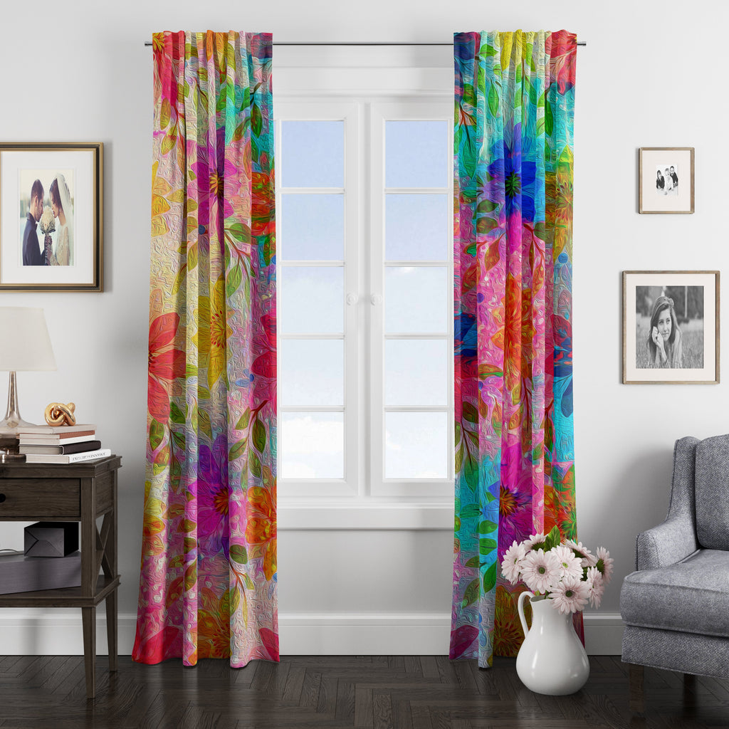 Boho Hippie Floral Garden Window Curtains