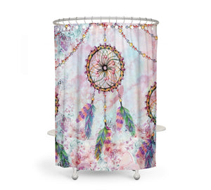 The Boho Chic Floral Dream Catcher Shower Curtain